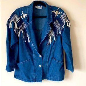 Vintage 90's Aztec Fringe Silver Medallion Jacket